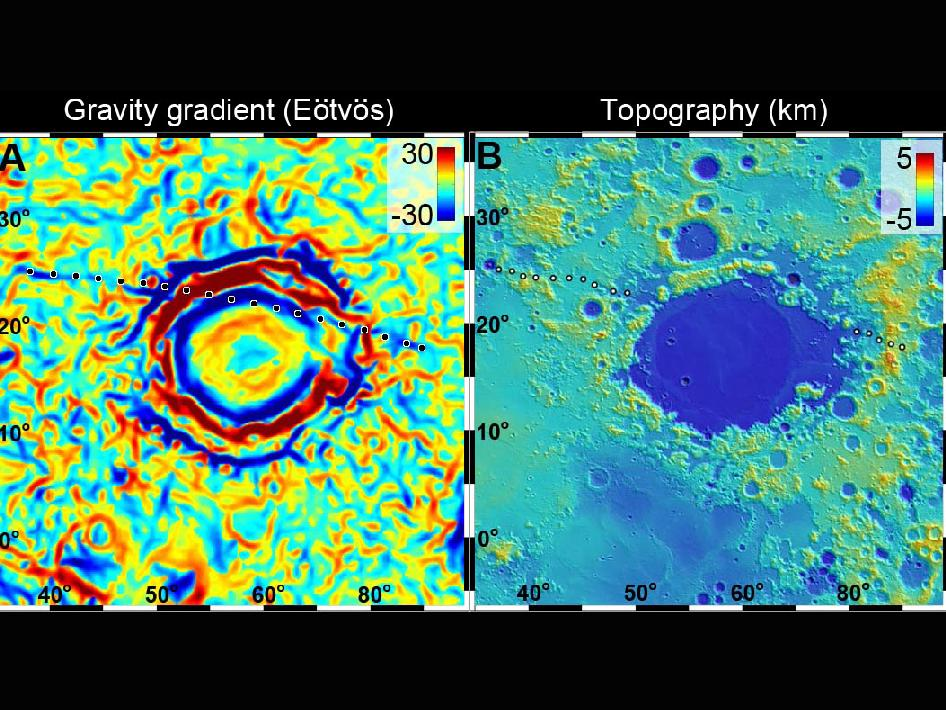 A linear gravity anomaly intersecting the Crisium basin on the nearside of the moon