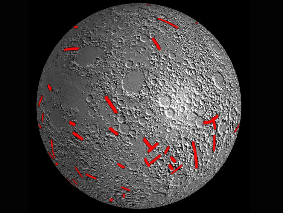 Map of one side of the moon