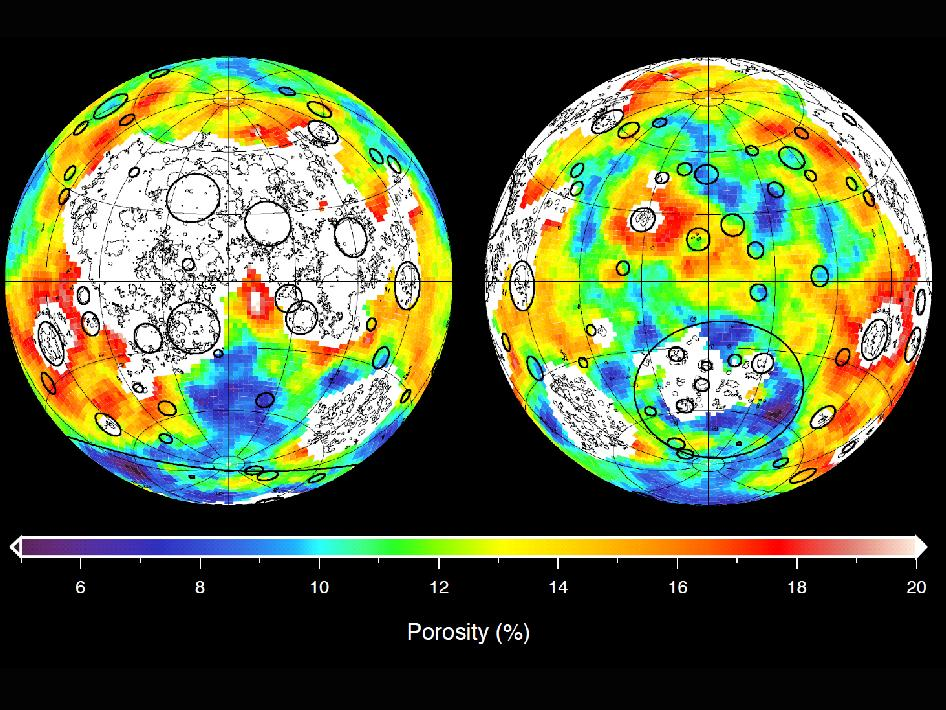 This image depicting the porosity of the lunar highland crust was derived using bulk density data from NASA's GRAIL mission and independent grain density measurements from NASA's Apollo moon mission samples as well as orbital remote-sensing data.