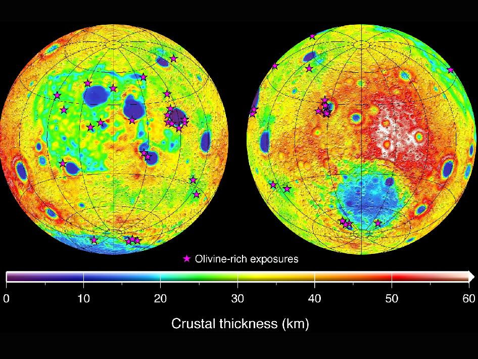 This graphic depicting the crustal thickness of the moon was generated using gravity data from NASA's GRAIL mission and topography data from NASA's Lunar Reconnaissance Orbiter.