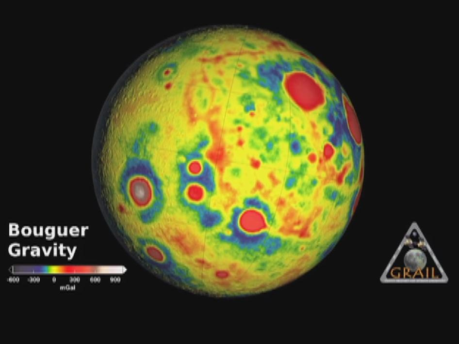 This movie shows the 'Bouguer' gravity of Earth's moon based on data from NASA's Gravity Recovery and Interior Laboratory (GRAIL) and topography from the Lunar Reconnaissance Orbiter's Lunar Orbiter Laser Altimeter.