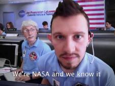 A screen shot from the video 'We're NASA and We Know it,' a spoof of the NASA/JPL Mars Rover team