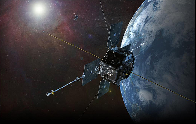 Artist's rendition of RBSP in orbit.