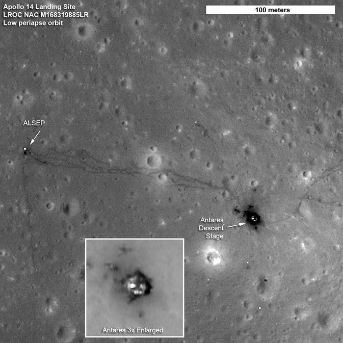 orbital view of Apollo 14 landing site. Gray with craters, tracks and blast marks.