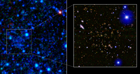 A galaxy cluster 7.7 billion light-years away