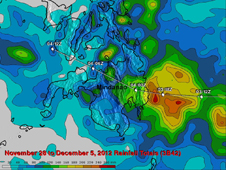 TRMM rainfall totals are shown here from Nov. 28 to Dec. 5, 2012 when typhoon Bopha was moving through the southern Philippines.
