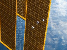 FITSAT-1, F-1, and TechEdSat Cube Satellites after deployment from the International Space Station. (NASA)