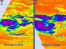 AIRS showed the coldest, most powerful areas of the cyclone in purple, where cloud top temperatures exceeded � 63F