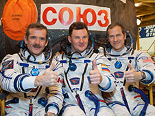 Chris Hadfield, Roman Romanenko and Tom Marshburn