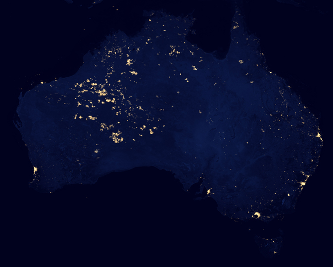 subset of Suomi NPP 'Black Marble' showing Australia