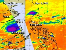 This side-by-side image shows Typhoon Bopha on Dec. 8 (left) and Dec. 9 (right).