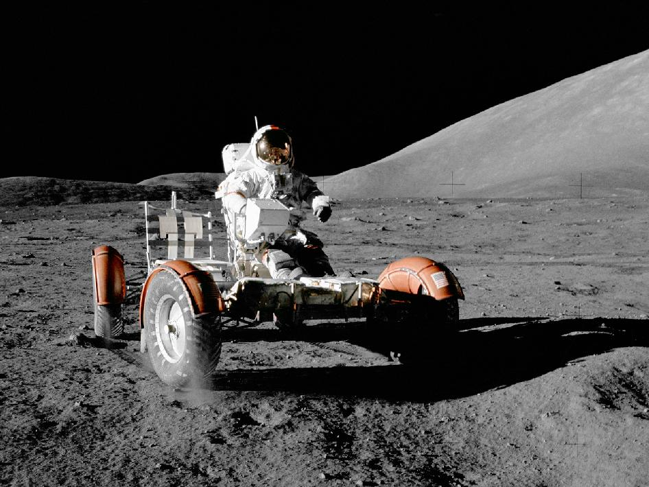 Astronaut Eugene A. Cernan, commander, makes a short checkout of the Lunar Roving Vehicle (LRV) during the early part of the first Apollo 17 extravehicular activity (EVA) at the Taurus-Littrow landing site.