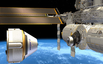 This artist concept shows The Boeing Company's CST-100 spacecraft approaching the International Space Station. Image credit: Boeing