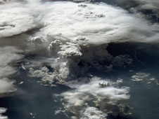 An astronaut photo showing a series of mature thunderstorms located near the Parana River in southern Brazil. Image Credit: NASA