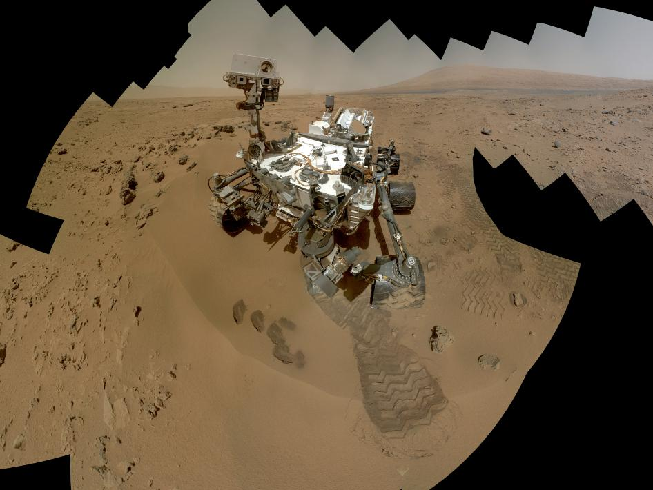 On the 84th and 85th Martian days of the NASA Mars rover Curiosity's mission on Mars (Oct. 31 and Nov. 1, 2012), NASA's Curiosity rover used the Mars Hand Lens Imager (MAHLI) to capture dozens of high-resolution images to be combined into self-portrait images of the rover.
