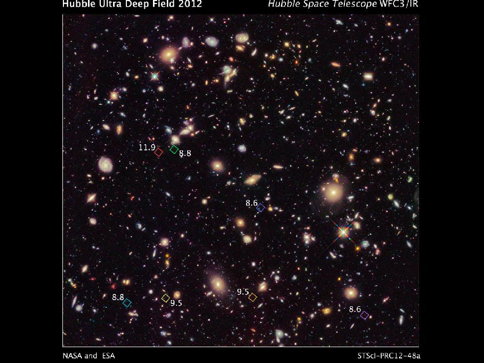 This new image of the Hubble Ultra Deep Field 2012 campaign reveals a previously unseen population of seven faraway galaxies.