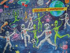 Astronauts and aliens play soccer in space
