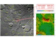 These maps of Earth's moon highlight the region where the twin spacecraft of NASA's Gravity Recovery and Interior Laboratory (GRAIL) mission will impact on Dec. 17, marking the end of its successful endeavor to map the moon's gravity.