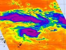AIRS captured this infrared image of Tropical Cyclone Evan over the Samoa Islands on Dec. 13