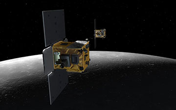 An artist's depiction of the twin spacecraft (Ebb and Flow) that comprise NASA's Gravity Recovery And Interior Laboratory (GRAIL) mission. Image credit: NASA/JPL-Caltech/MIT