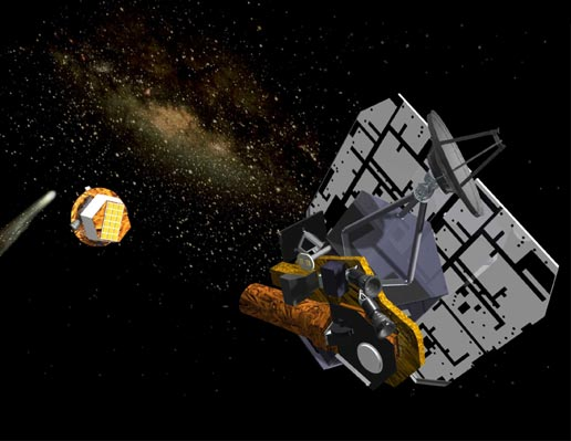 An artist's rendition of the flyby spacecraft releasing the impactor