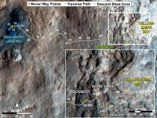 Curiosity traverse map, sol 130