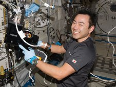 Japan Aerospace Exploration Agency astronaut Aki Hoshide services the Nano Step payload in the Japanese Experiment Module.. (NASA)