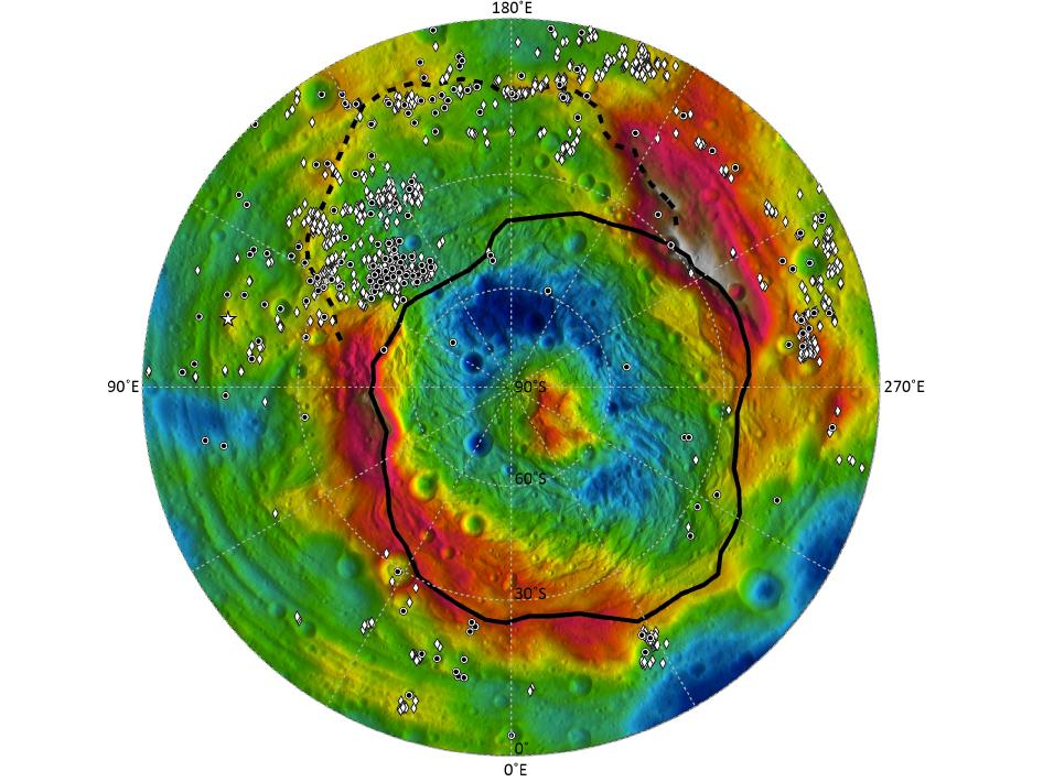 Map shows the distribution of dark materials throughout the southern hemisphere of the giant asteroid Vesta
