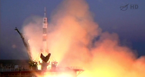 The Soyuz TMA-07M spacecraft launches