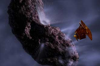 artist's concept of Deep Impact encountering comet Tempel 1