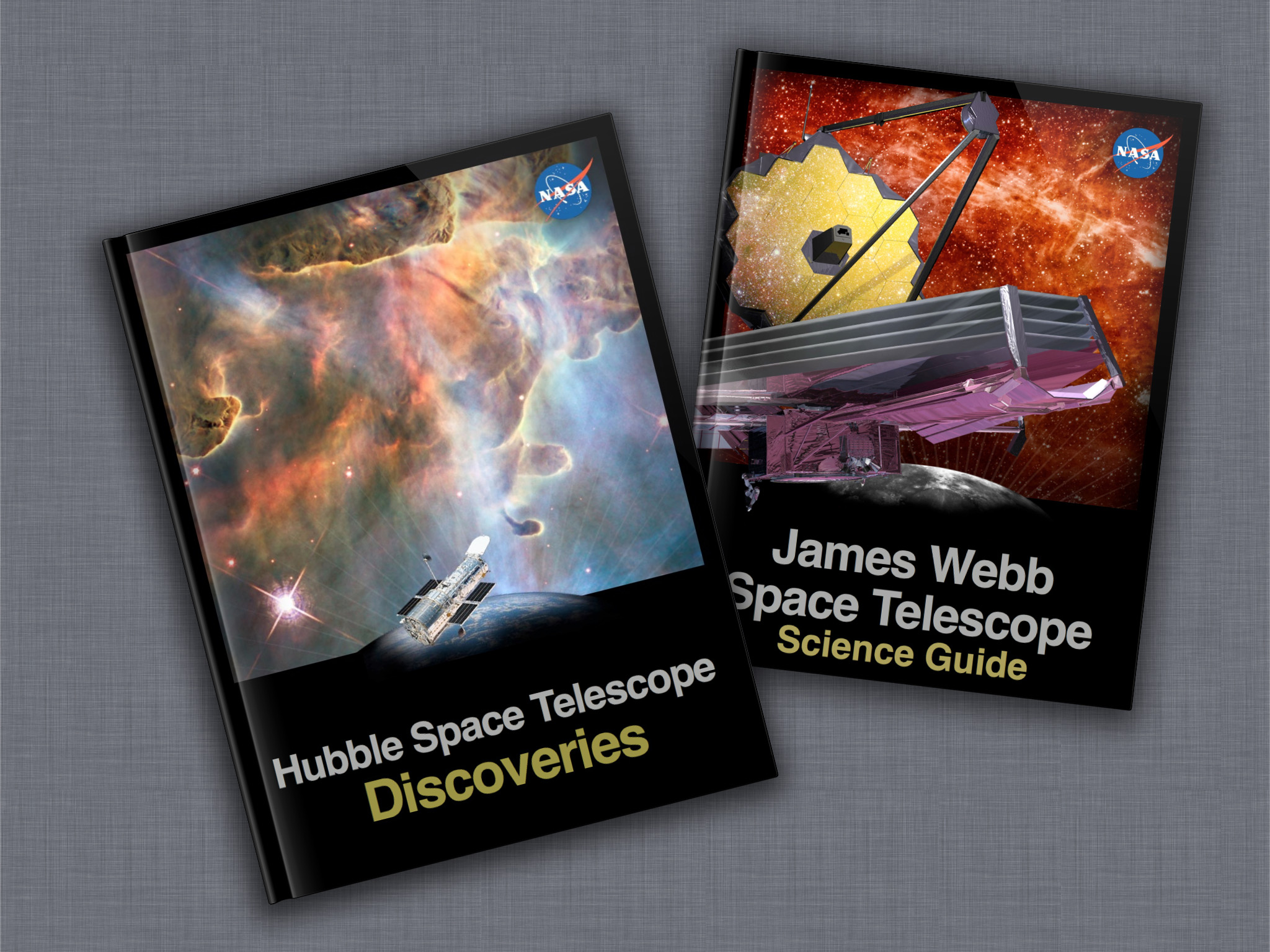 Nasa new free e books available about 2 famous nasa space telescopes composite image of hubble and webb e book covers fandeluxe Choice Image