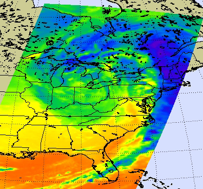 infrared image of Midwest low pressure area