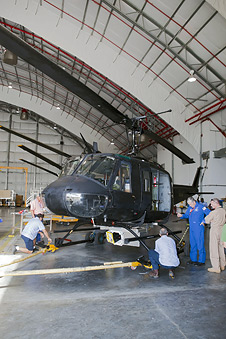 Engineers fit NASA UH-1H with ALHAT instrumentation