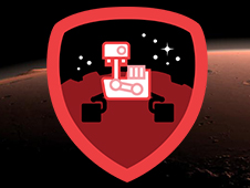 An image of the Curiosity Explorer badge that can be earned by Foursquare users who check into a NASA visitor center or a venue categorized as a science museum or planetarium.