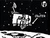 A black and white cartoon drawing of the CraTER spacecraft