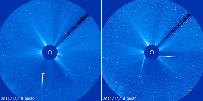 SOHO sees comet Lovejoy's approach (left) and exit (right).