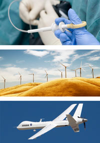 medical, wind turbines, jet