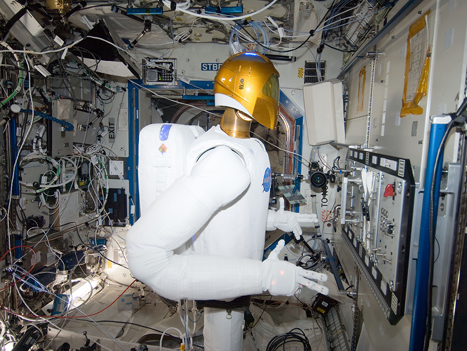 In the International Space Station's Destiny laboratory, Robonaut 2 is pictured during a round of testing for the first humanoid robot in space. Photo Credit: NASA