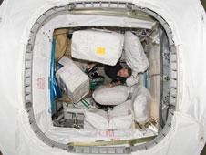 Astronaut Dan Burbank inside Permanent Multipurpose Module