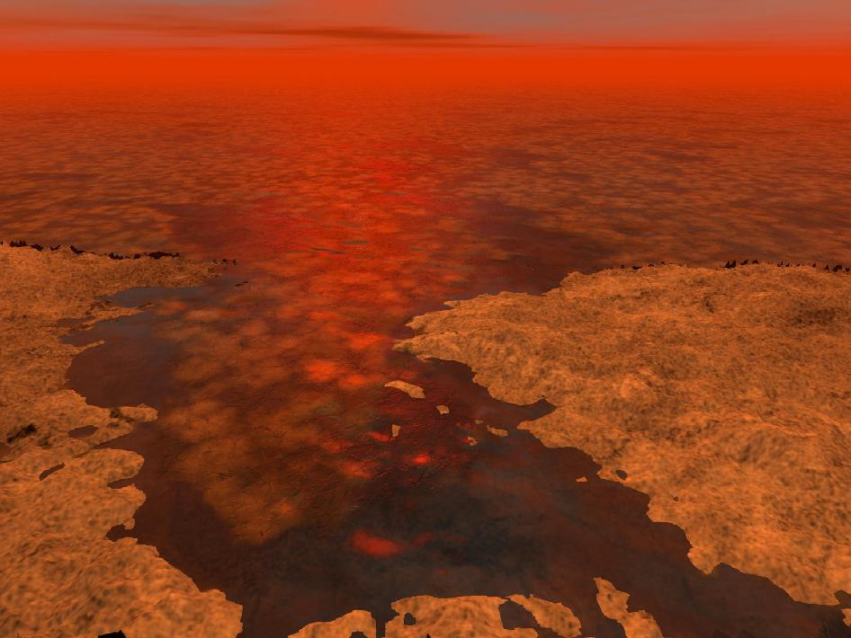 Artist's concept of floating ice on Titan