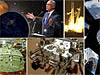 A collage of images featuring NASA Administrator Bolden, the Curiosity rover on Mars, the Orion capsule, a rocket launch and the view from the space station cupola
