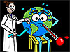 Cartoon doctor listens to Earth's heart with stethoscope while checking the planet's pulse and temperature