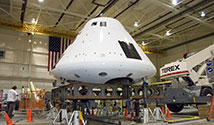 Orion flight test crew module used for the Orion Launch Abort System Pad Abort 1 flight test. Photo Credit: NASA/Tony Landis