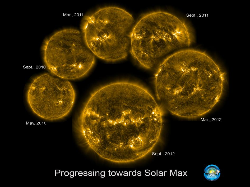 Six view of the Sun from May 2010 to Sept. 2012, as seen by SDO, show the sun as it approaches solar maximum.
