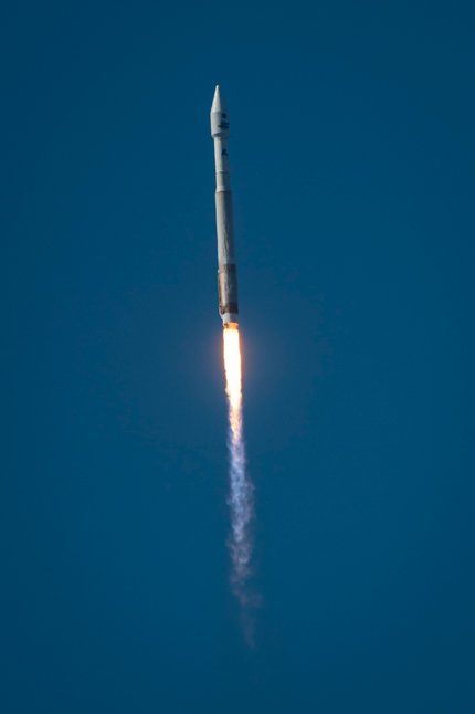 Liftoff of the Atlas V rocket carrying the LDCM spacecraft