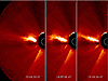 This triptych shows a coronal mass ejection or CME as it burst off of the sun in the morning of Jan. 13, 2013.