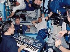 carl waltz in space with his keyboard