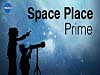 Two silhouettes stargaze under the words Space Place Prime