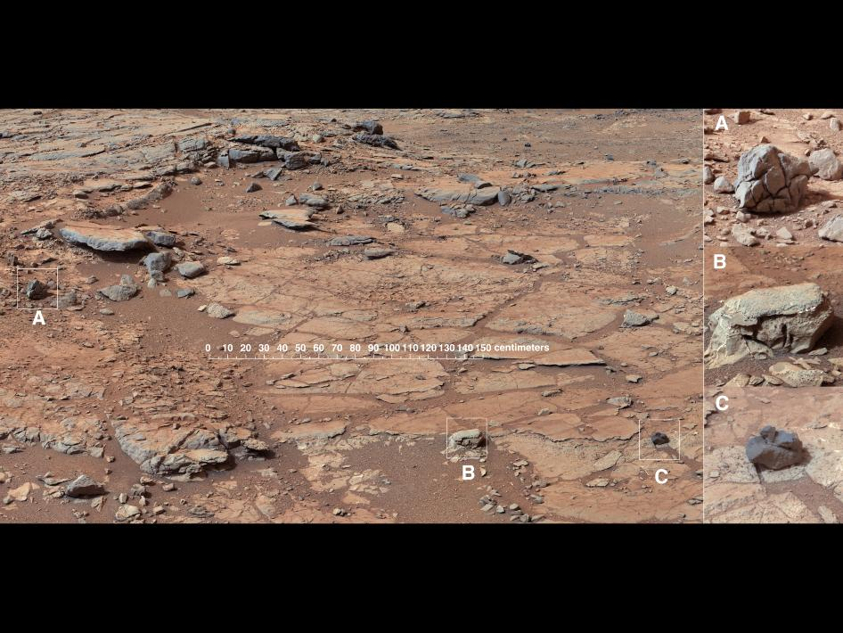 The right Mast Camera (Mastcam) of NASA's Curiosity Mars rover provided this contextual view of the vicinity of the location called 'John Klein,' selected as Curiosity's first drilling site.