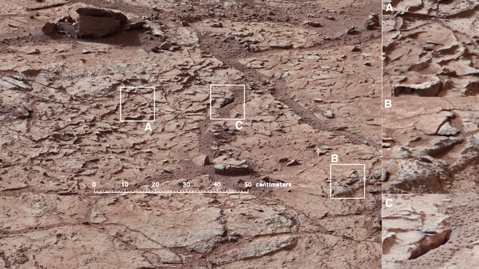 Patch of veined, flat-lying rock selected as the first drilling site for NASA's Mars rover Curiosity